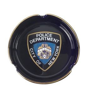 NYPD Ashtray City of New York Round Blue Gold
